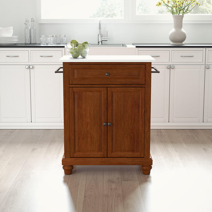 Cambridge Cherry Portable Kitchen Cart/Island with Granite Top - Kitchen Furniture Company