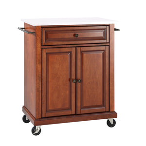 Cherry Portable Kitchen Cart with Granite Top Sturdy Casters - Kitchen Furniture Company