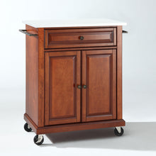 Load image into Gallery viewer, Cherry Portable Kitchen Cart with Granite Top Sturdy Casters - Kitchen Furniture Company