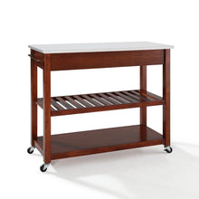 Load image into Gallery viewer, Cherry Kitchen Cart with White Granite Top and Heavy Duty Caster's - Kitchen Furniture Company