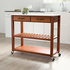 Cherry Kitchen Cart with White Granite Top and Heavy Duty Caster's - Kitchen Furniture Company