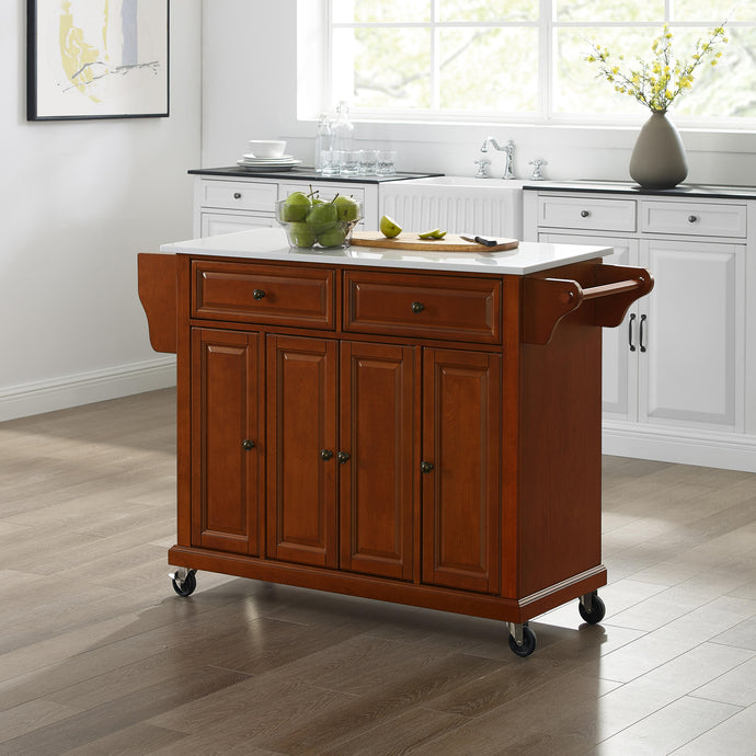 Full Size Cherry Kitchen Cart with White Granite Top Sturdy Casters - Kitchen Furniture Company