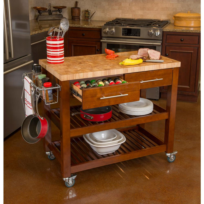 Professional Kitchen Cart with Wooden Shelves Butcher Block Counter 7749 - Kitchen Furniture Company