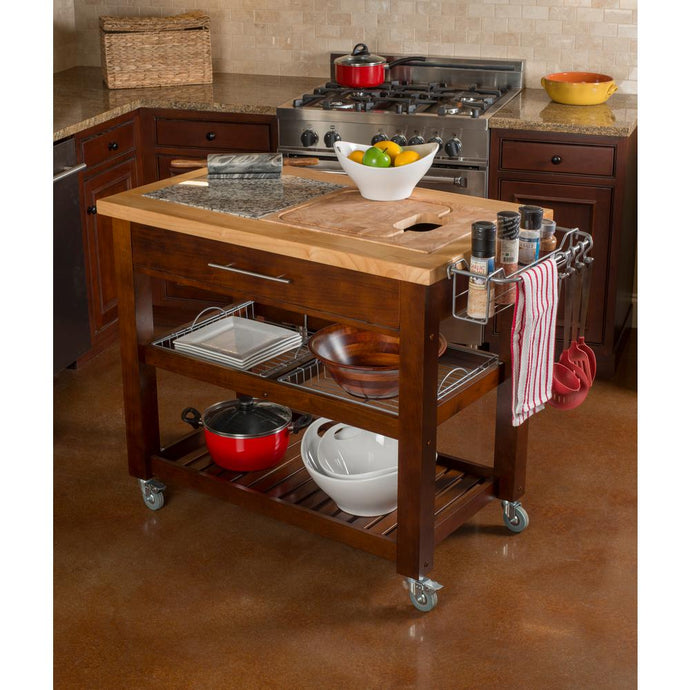 Prof Chef's Series Rectangle Rolling Kitchen Island Cart 1224 - Kitchen Furniture Company