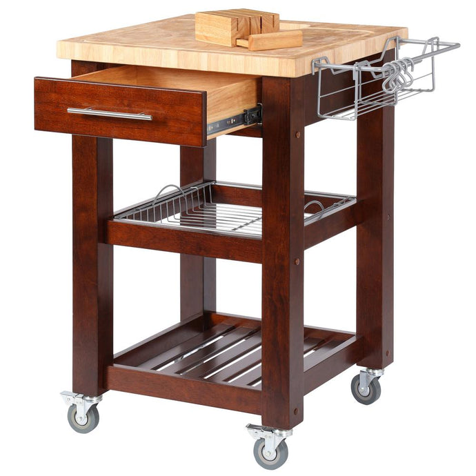 All Natural Espresso Personal Chef's Prep Station W/ Wired Rack Storage 1226 - Kitchen Furniture Company