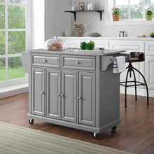 Load image into Gallery viewer, Full Size Grey Kitchen Cart with Solid Granite Top Sturdy Casters - Kitchen Furniture Company