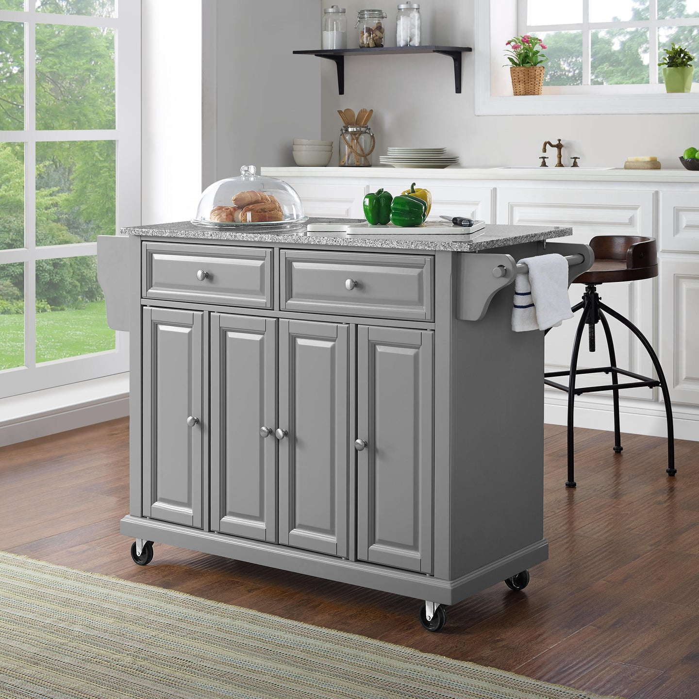 Full Size Grey Kitchen Cart with Solid Granite Top Sturdy Casters - Kitchen Furniture Company