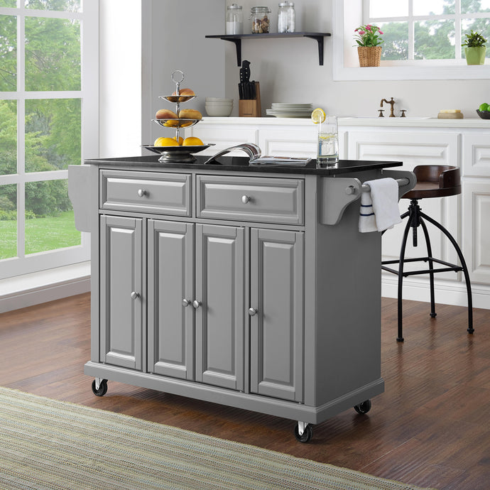 Full Size Grey Kitchen Cart with Solid Black Granite Top Sturdy Casters - Kitchen Furniture Company