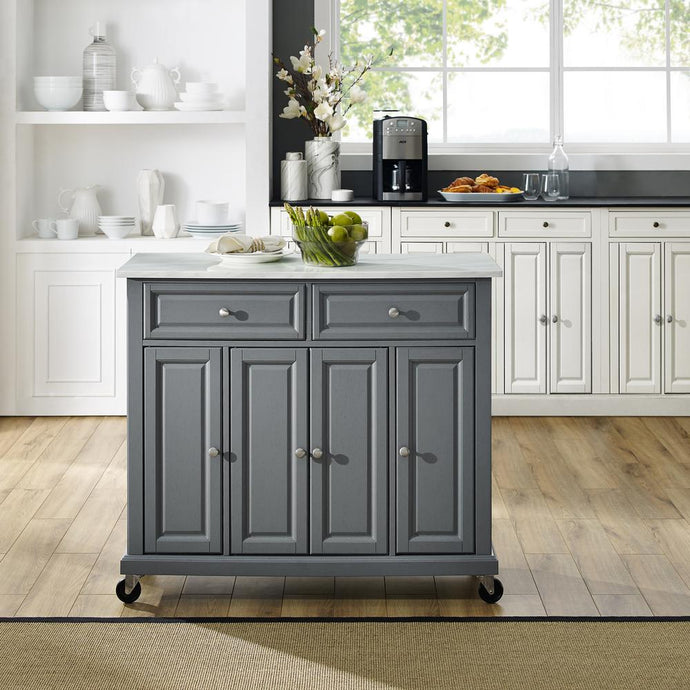 Gray Kitchen Cart with Paper Marble Finish Sturdy Caster's KF30043EGY - Kitchen Furniture Company
