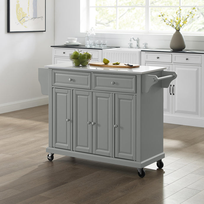 Full Size Gray Kitchen Cart with White Granite Top Sturdy Casters - Kitchen Furniture Company