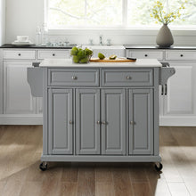 Load image into Gallery viewer, Full Size Gray Kitchen Cart with White Granite Top Sturdy Casters - Kitchen Furniture Company