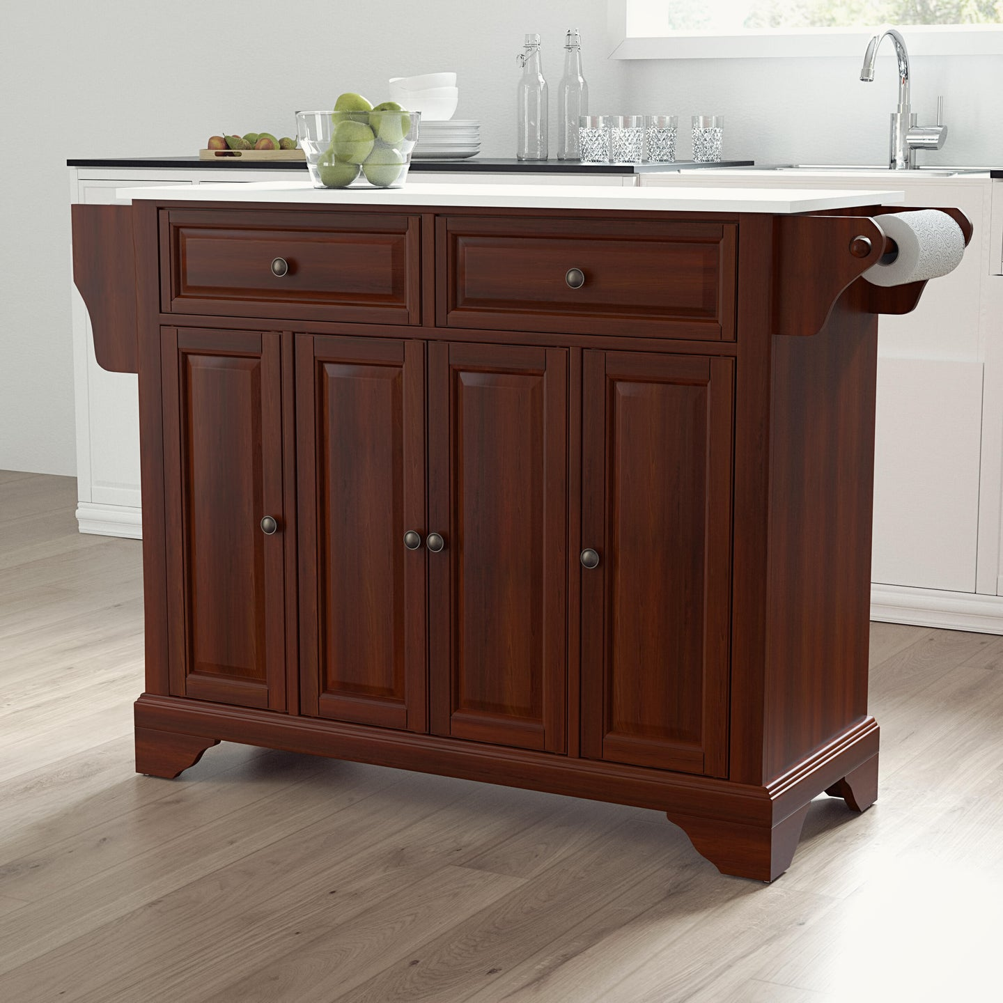 Lafayette Mahogany Full Size Kitchen Island/Cart with Granite Top - Kitchen Furniture Company