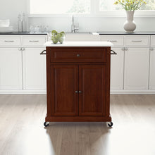 Load image into Gallery viewer, Mahogany Portable Kitchen Island with Granite Top Sturdy Casters - Kitchen Furniture Company