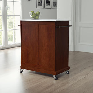 Mahogany Portable Kitchen Island with Granite Top Sturdy Casters - Kitchen Furniture Company