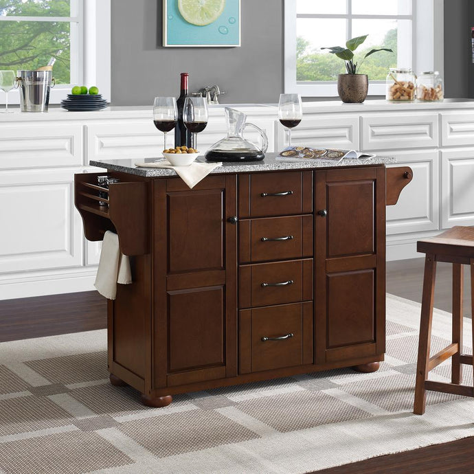 Eleanor Mahogany Kitchen Island with Ample Storage and Granite Top - Kitchen Furniture Company