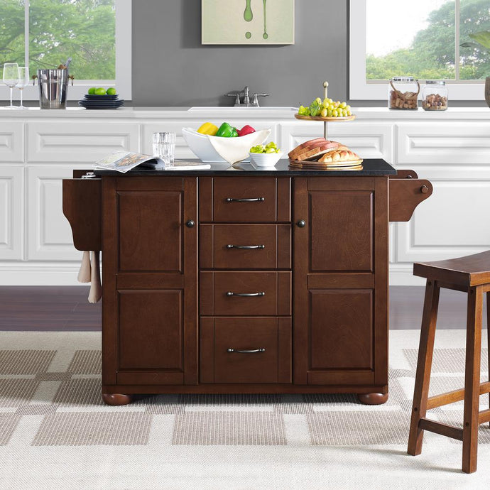 Eleanor Mahogany Kitchen Island with Ample Storage and Black Granite Top - Kitchen Furniture Company