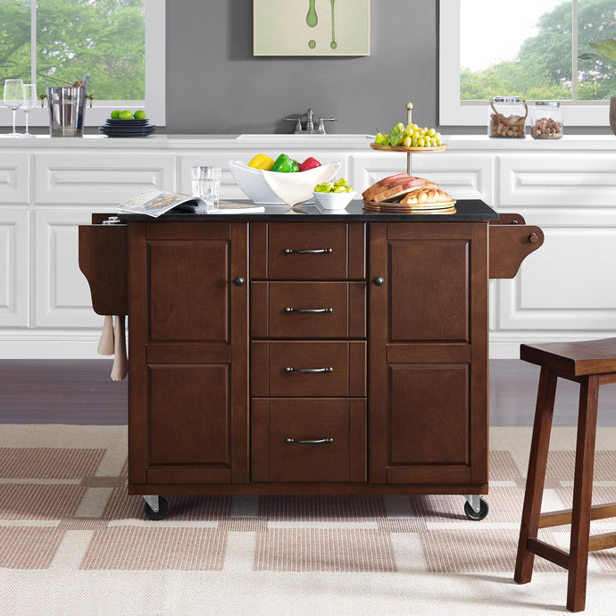 Rolling Eleanor Mahogany Kitchen Island with Ample Storage and Black Granite Top - Kitchen Furniture Company