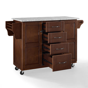 Rolling Eleanor Mahogany Kitchen Island with Ample Storage and Granite Top - Kitchen Furniture Company