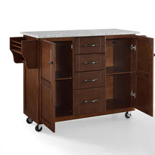 Load image into Gallery viewer, Rolling Eleanor Mahogany Kitchen Island with Ample Storage and Granite Top - Kitchen Furniture Company
