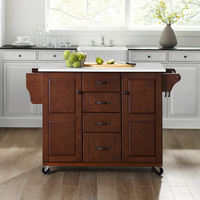 Rolling Eleanor Mahogany Kitchen Island with Ample Storage and White Granite Top - Kitchen Furniture Company