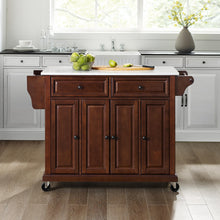 Load image into Gallery viewer, Full Size Mahogany Kitchen Cart with White Granite Top Sturdy Casters - Kitchen Furniture Company