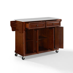 Full Size Mahogany Kitchen Cart with White Granite Top Sturdy Casters - Kitchen Furniture Company