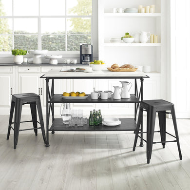 French 3Pc Island & 2 Piece Stool Set Matte Black Large Storage Shelves 13032 - Kitchen Furniture Company