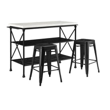 Load image into Gallery viewer, French 3Pc Island & 2 Piece Stool Set Matte Black Large Storage Shelves 13032 - Kitchen Furniture Company
