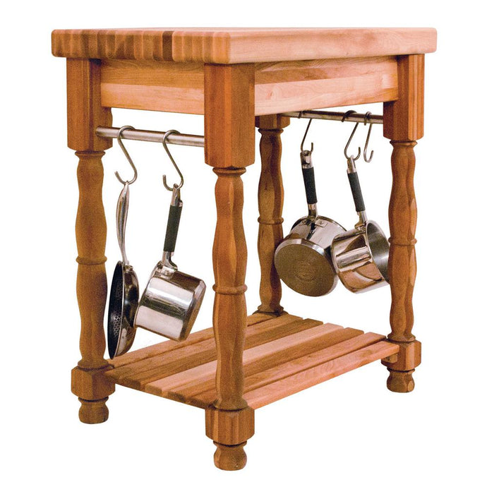 2 1/2 inch Thick Butcher Block Table w/ Hanging S Hooks 1471 - Kitchen Furniture Company