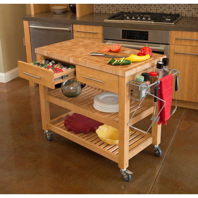 Professional Chef's Workstation All Natural Wood Rolling Cart Butcher Top JET7748 - Kitchen Furniture Company