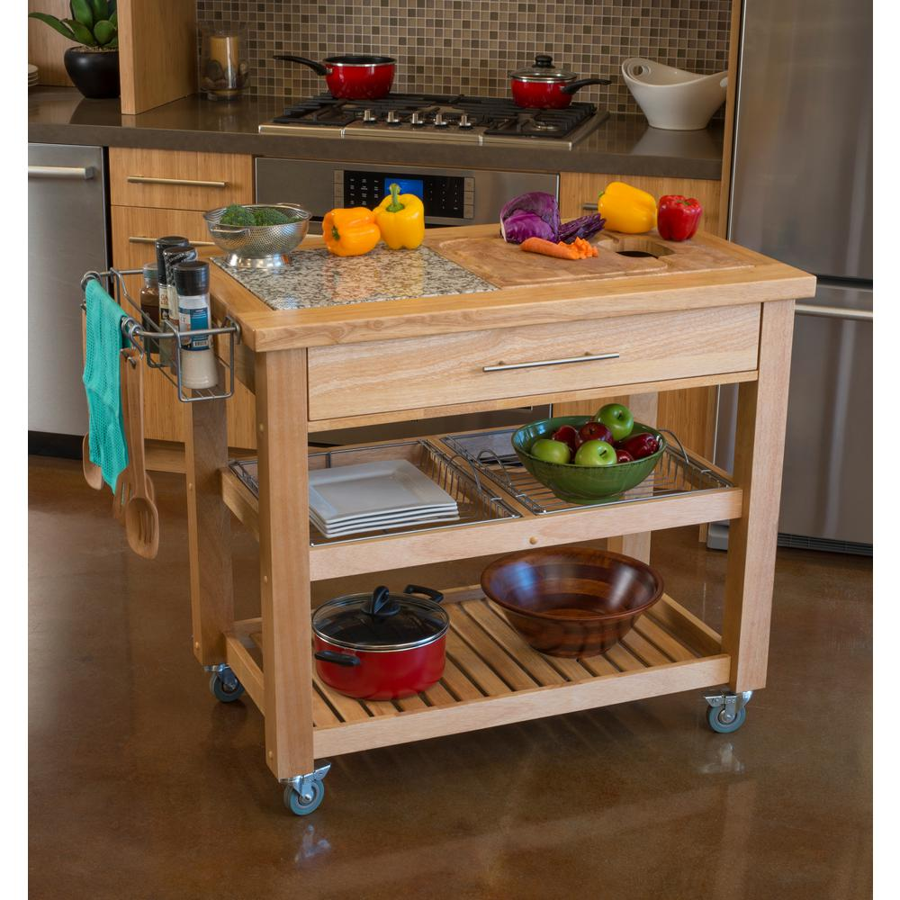 All Natural Wood Professional Rolling Kitchen Cart Heavy Duty Legs JET1223 - Kitchen Furniture Company