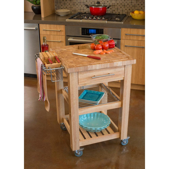 All Natural Wood Personal Chef's Prep Station W/ Wired Rack Storage JET1225 - Kitchen Furniture Company