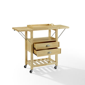 Rolling Natural Kitchen Cart with Double Drop Leaf Wine Storage 3023-NA - Kitchen Furniture Company