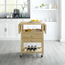 Load image into Gallery viewer, Rolling Natural Kitchen Cart with Double Drop Leaf Wine Storage 3023-NA - Kitchen Furniture Company