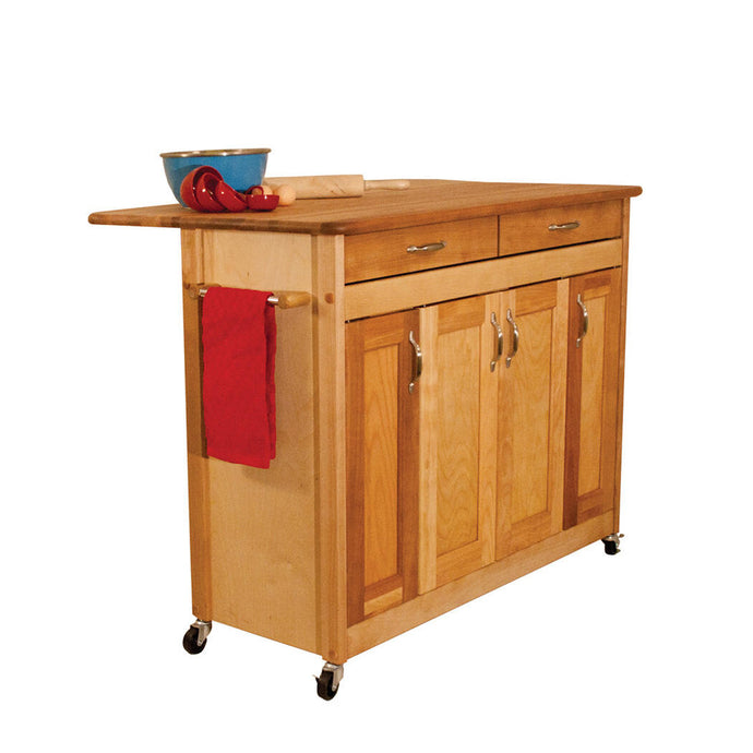 Portable Natural Kitchen Cart with Butcher Block Top and Drop Leaf 53228 - Kitchen Furniture Company