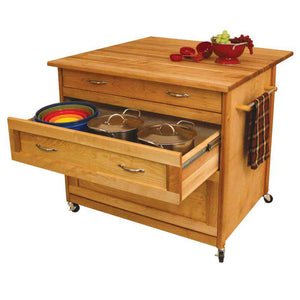 Kitchen Island Three Drawer Work Center with Drop Leaf and Sturdy Casters 15216 - Kitchen Furniture Company