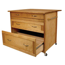 Load image into Gallery viewer, Kitchen Island Three Drawer Work Center with Drop Leaf and Sturdy Casters 15216 - Kitchen Furniture Company
