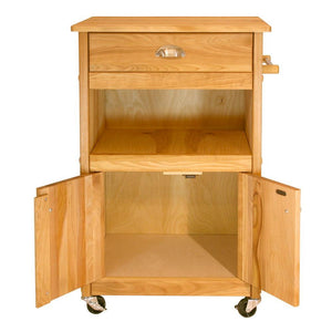 Natural Wood Kitchen Cart with Storage and Casters 1569 - Kitchen Furniture Company