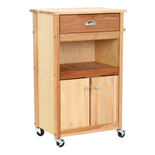 Load image into Gallery viewer, Natural Wood Kitchen Cart with Storage and Casters 1569 - Kitchen Furniture Company