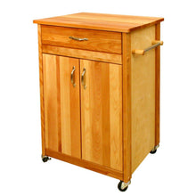 Load image into Gallery viewer, Natural Wood Kitchen Cart with Towel Rack 51527 - Kitchen Furniture Company