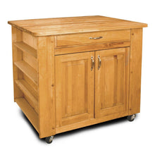 Load image into Gallery viewer, Natural Wood Kitchen Cart with Storage w/ Locking Caster's 64024 - Kitchen Furniture Company