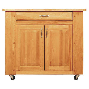 Natural Wood Kitchen Cart with Storage w/ Locking Caster's 64024 - Kitchen Furniture Company