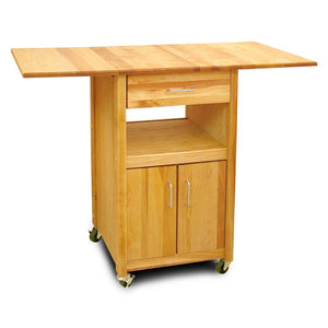 Solid Drop Leaf Cabinet Cart with Storage and Locking Casters 7222 - Kitchen Furniture Company