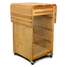 Load image into Gallery viewer, Natural Wood Kitchen Cart w/ Dual Drop Leaves and Locking Casters 7226 - Kitchen Furniture Company