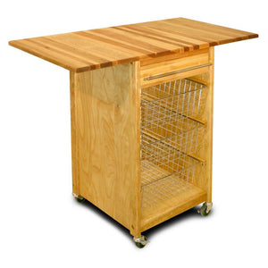 Natural Wood Kitchen Cart w/ Dual Drop Leaves and Locking Casters 7226 - Kitchen Furniture Company