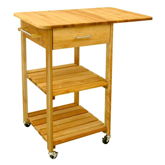 Natural Wood Kitchen Cart with Drop Leaf and Locking Casters 7227 - Kitchen Furniture Company