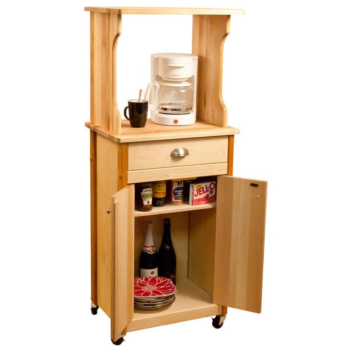 Natural Wood Kitchen Cart with Hutch Top on Casters 51530 - Kitchen Furniture Company