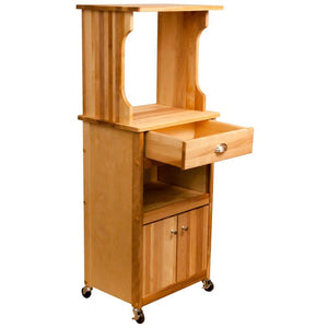 Microwave Coffee Natural Wood Kitchen Cart with Hutch Top 51570 - Kitchen Furniture Company