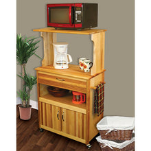 Load image into Gallery viewer, Rolling Natural Wood Kitchen Microwave/Coffee Cart with Hutch Top 51576 - Kitchen Furniture Company