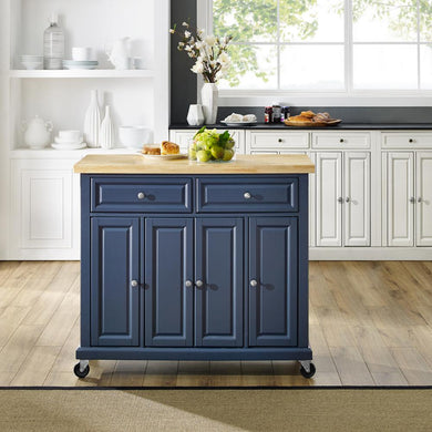 Madison Navy Kitchen Cart with Butcher Block Top and Sturdy Casters KF30031ENV - Kitchen Furniture Company